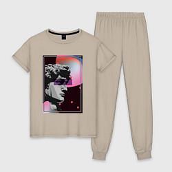 Пижама хлопковая женская Vapor David цвета миндальный — фото 1