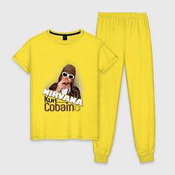 Пижама хлопковая женская Kurt Cobain in glasses цвета желтый — фото 1