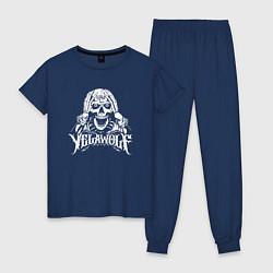Пижама хлопковая женская Yelawolf цвета тёмно-синий — фото 1