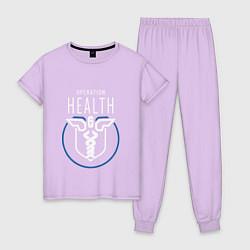 Пижама хлопковая женская Operation Health цвета лаванда — фото 1