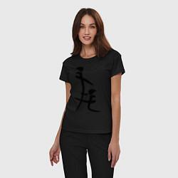 Пижама хлопковая женская Иероглиф: минет цвета черный — фото 2