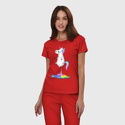 Пижама хлопковая женская Взлет единорога цвета красный — фото 2