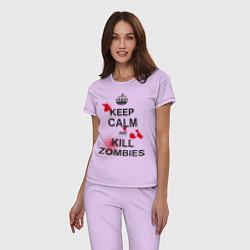 Пижама хлопковая женская Keep Calm & Kill Zombies цвета лаванда — фото 2