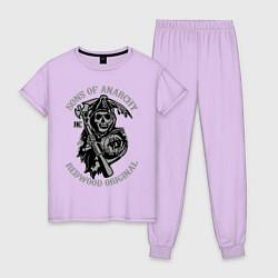 Пижама хлопковая женская Sons of Anarchy: Redwood Original цвета лаванда — фото 1