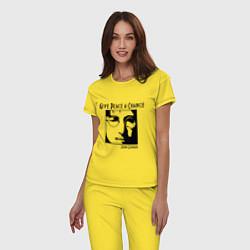 Пижама хлопковая женская Give Peace a Chance цвета желтый — фото 2
