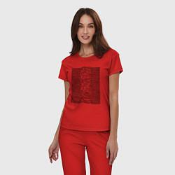Пижама хлопковая женская Unknown Pleasures цвета красный — фото 2