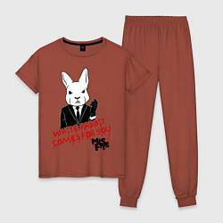 Пижама хлопковая женская Misfits: White rabbit цвета кирпичный — фото 1
