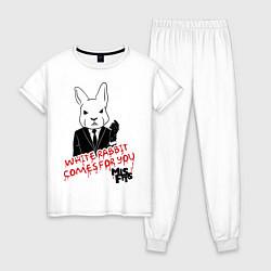 Пижама хлопковая женская Misfits: White rabbit цвета белый — фото 1