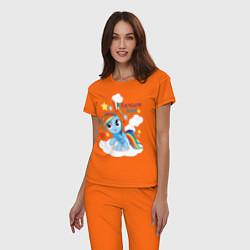 Пижама хлопковая женская Rainbow Dash цвета оранжевый — фото 2