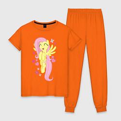 Пижама хлопковая женская Флаттершай и бабочки цвета оранжевый — фото 1