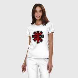 Пижама хлопковая женская Red Hot Chili Peppers цвета белый — фото 2