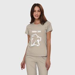 Пижама хлопковая женская R6S Lion цвета миндальный — фото 2