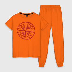 Пижама хлопковая женская Taknado: Stone Island цвета оранжевый — фото 1