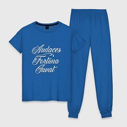 Пижама хлопковая женская Audaces Fortuna Juvat цвета синий — фото 1