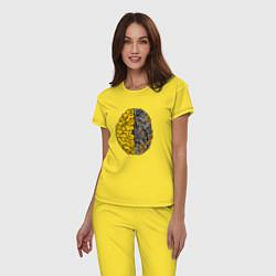Пижама хлопковая женская Мозг инженера цвета желтый — фото 2