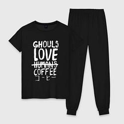 Пижама хлопковая женская Ghouls Love Coffee цвета черный — фото 1