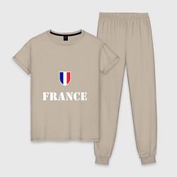 Пижама хлопковая женская France цвета миндальный — фото 1