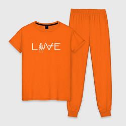 Пижама хлопковая женская Angels & Airwaves цвета оранжевый — фото 1
