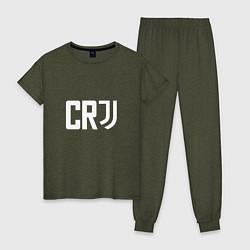 Пижама хлопковая женская CR7 цвета меланж-хаки — фото 1