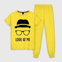 Пижама хлопковая женская Look at me цвета желтый — фото 1