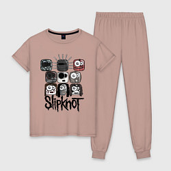 Пижама хлопковая женская Slipknot Masks цвета пыльно-розовый — фото 1