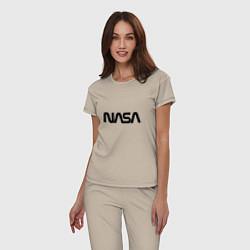 Пижама хлопковая женская NASA цвета миндальный — фото 2
