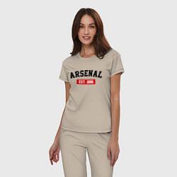 Пижама хлопковая женская FC Arsenal Est. 1886 цвета миндальный — фото 2