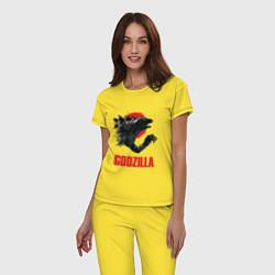 Пижама хлопковая женская Godzilla: Red Sun цвета желтый — фото 2