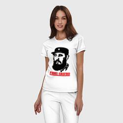 Пижама хлопковая женская Fidel Castro цвета белый — фото 2