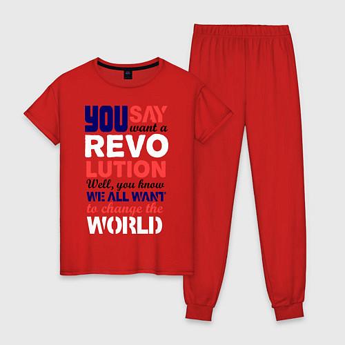 Женская пижама The Beatles Revolution / Красный – фото 1