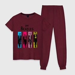 Пижама хлопковая женская Walking Beatles цвета меланж-бордовый — фото 1