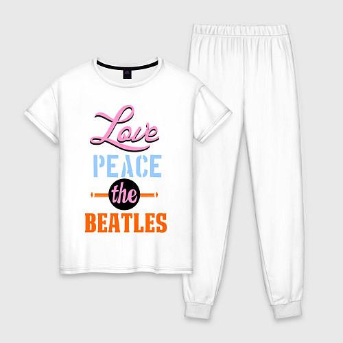 Женская пижама Love peace the Beatles / Белый – фото 1