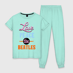 Пижама хлопковая женская Love peace the Beatles цвета мятный — фото 1