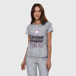 Пижама хлопковая женская Семейное положение: есть кот цвета меланж — фото 2