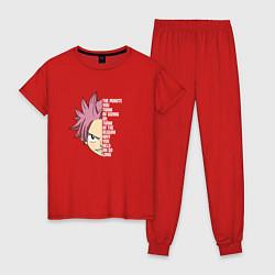 Пижама хлопковая женская Natsu Quote цвета красный — фото 1