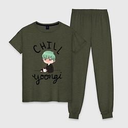 Пижама хлопковая женская Chill Yoongi цвета меланж-хаки — фото 1