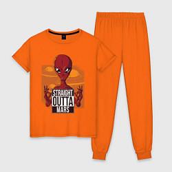 Пижама хлопковая женская Straight Outta Mars цвета оранжевый — фото 1
