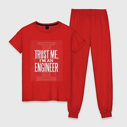 Пижама хлопковая женская I'm an Engineer цвета красный — фото 1