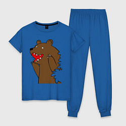 Пижама хлопковая женская Медведь цензурный цвета синий — фото 1