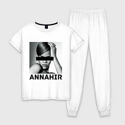 Пижама хлопковая женская Rihanna цвета белый — фото 1
