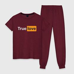 Пижама хлопковая женская True Love цвета меланж-бордовый — фото 1