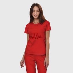 Пижама хлопковая женская Mrs: Just married цвета красный — фото 2
