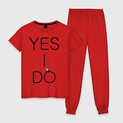 Пижама хлопковая женская Yes I Do цвета красный — фото 1
