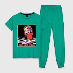 Пижама хлопковая женская 6ix9ine цвета зеленый — фото 1