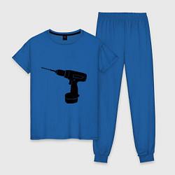 Пижама хлопковая женская Она: перфоратор цвета синий — фото 1