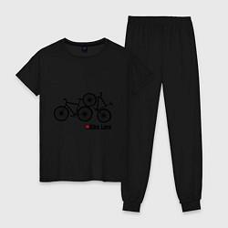 Пижама хлопковая женская Bike Love цвета черный — фото 1