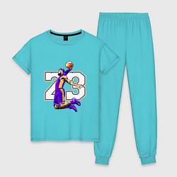 Пижама хлопковая женская Леброн Джеймс цвета бирюзовый — фото 1