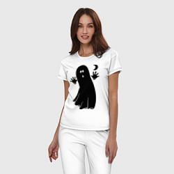 Пижама хлопковая женская Приведение цвета белый — фото 2