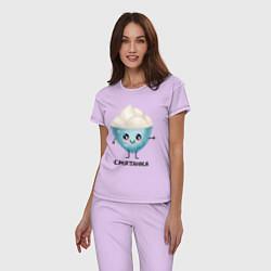 Пижама хлопковая женская Смятанка цвета лаванда — фото 2