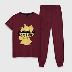 Пижама хлопковая женская Гамбург - Германия цвета меланж-бордовый — фото 1